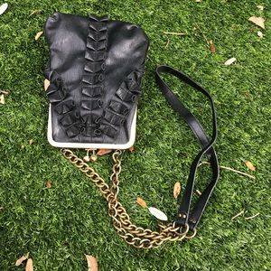 Jessica Simpson Vegan Leather Ruffle Gold  Bag!